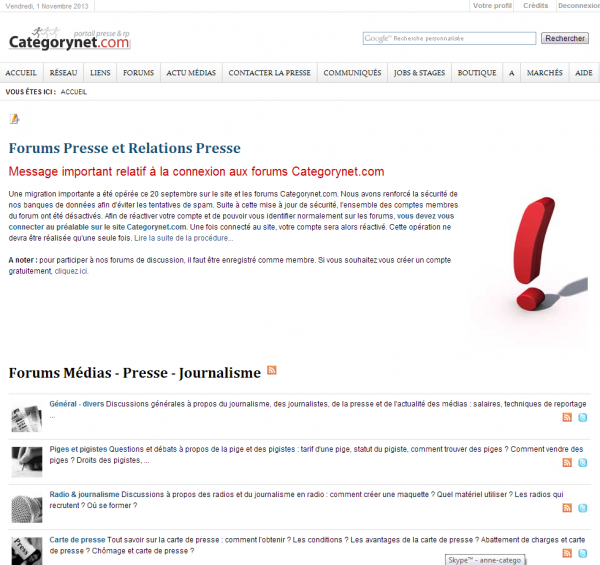Forum de discussion sur le journalisme, la presse et les RP