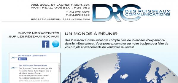 Des ruisseaux Communications