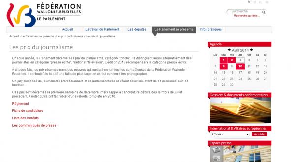 Prix du journalisme du Parlement de la Fédération Wallonie-Bruxelles