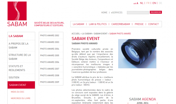 Sabam photo award