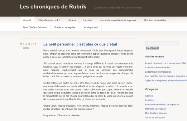 Les chroniques de Rubrik