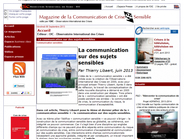 Magazine de la communication de crise & sensible