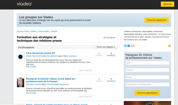 Groupe Viadeo : Formation aux stratégies et techniques des relations presse
