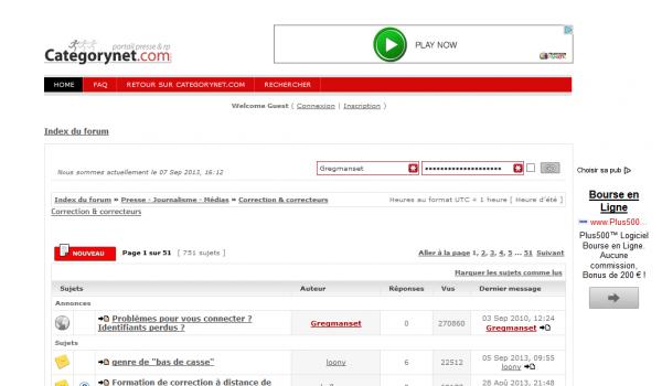 Forum Correcteurs Categorynet.com